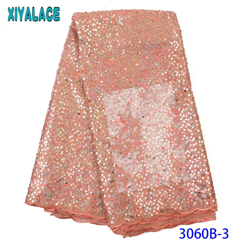 Popular Organza Lace Fabrics French Lace Fabric High Quality Sequence Fabrics Nigerian Net Lace For Party KS3060B