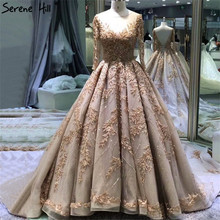 Extreme Luxury Gold Vintage Wedding Dresses 2020 Handmade Flowers Sequined Long Sleeves Bridal Gown BHA2184 Custom Made