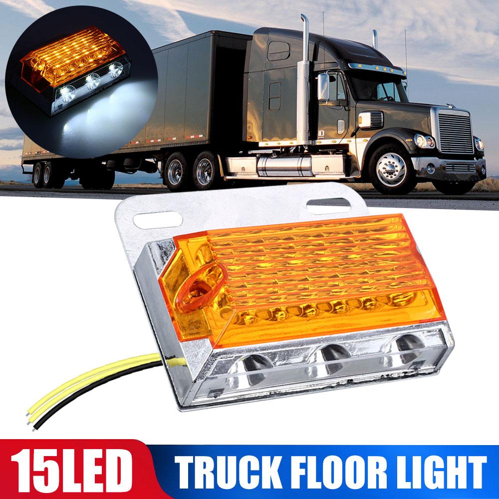 DC24V 15 LED Side Marker Lights Car External Lights Squarde Warning Tail Light Auto Trailer Truck Lorry Lamps Amber Color