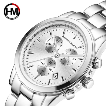 Hanna Martin luxury Brand Stainless Steel Wrist Bracelet Waterproof Calendar Men 's Business Sports Fashion Leisure Quartz Watch the latest v6 0262 leisure men s watch 9 needle work digital display time calendar watch brand high end fashion watches