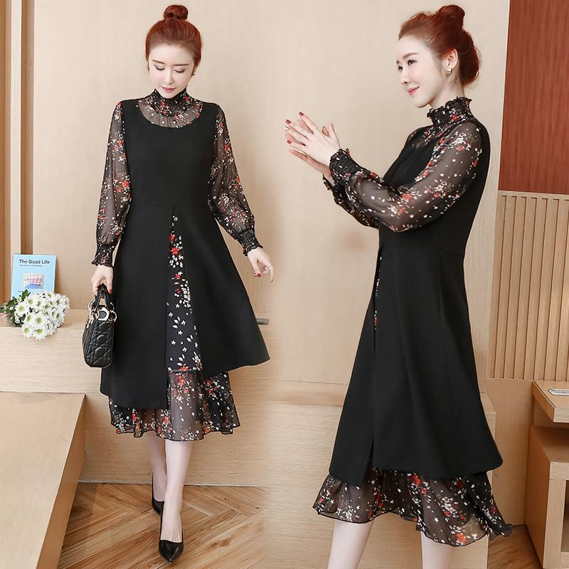 4XL 5XL 2020 Women Spring Floral Print Dress Plus Size Casual Floral Lace Ladies Dress Black Elegant Large Size Long Party Dress