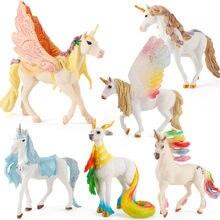 Pegasus boneca brinquedo simulação mini animal modelo unicórnio voando cavalo figura modelo figuras selvagens crianças brinquedos estatueta