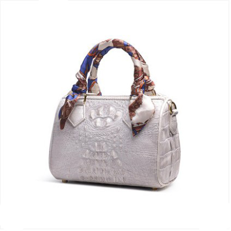 ouluoer Imported alligator skin lady's bag white leather mini Boston bag one shoulder cross body tote bag