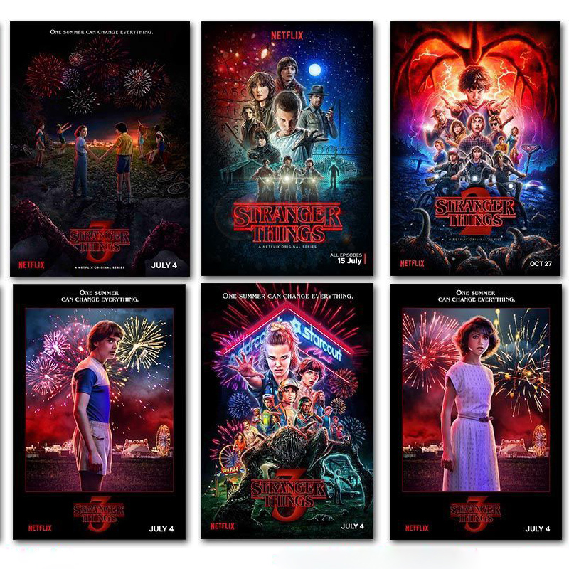 PipiFren Stranger Things Posters Wall Stickers Home Decoration TV Show Prints Home Art Brand Silk Poster Naklejki