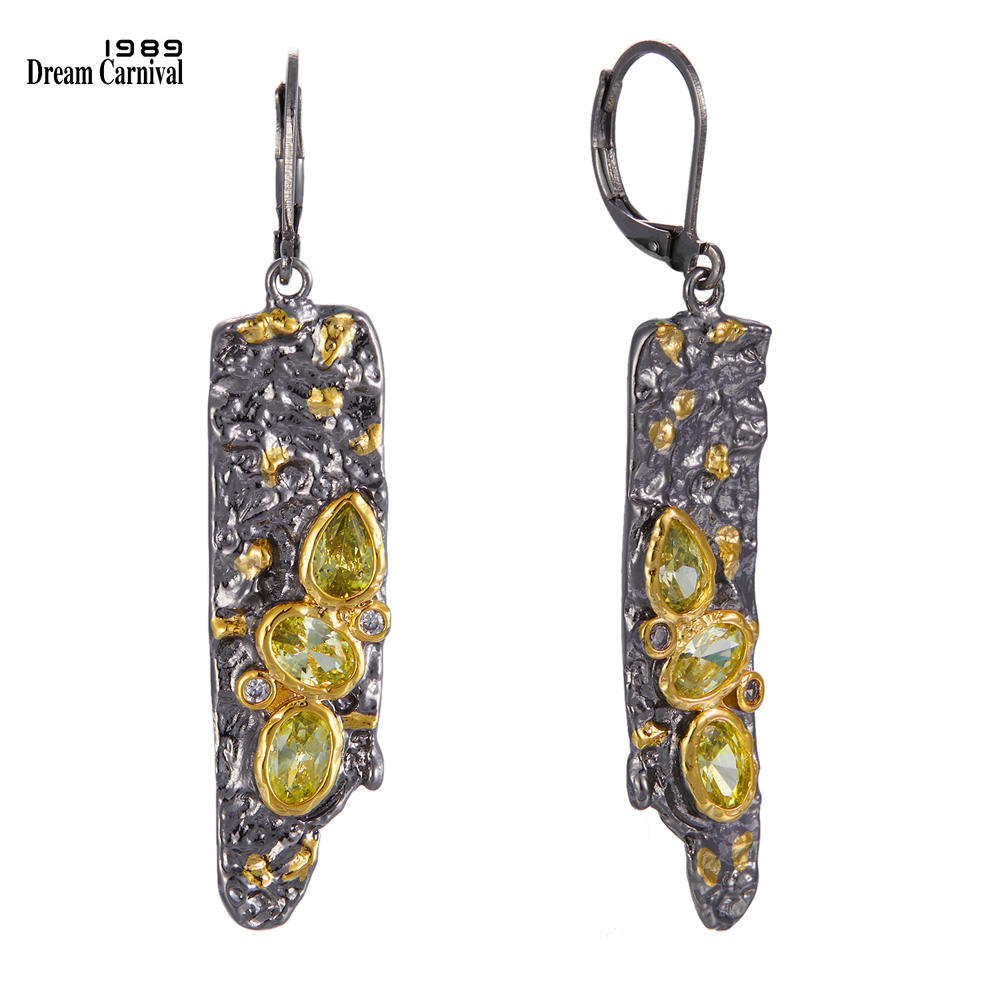 DreamCarnival1989 New Arrive Exaggerated Gothic Earrings for Women Black Gold Color Vintage Unique Olivine Cubic Zirconia WE3992(China)