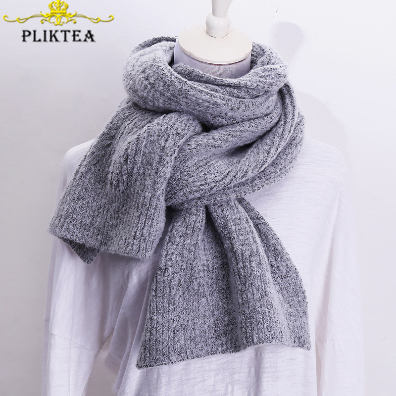 Korean Thick Warm Knit Women Winter Gray Scarf Wool Blends Yellow Blue Green Gray Solid Color Female Cashmere Red Tippet Scarves