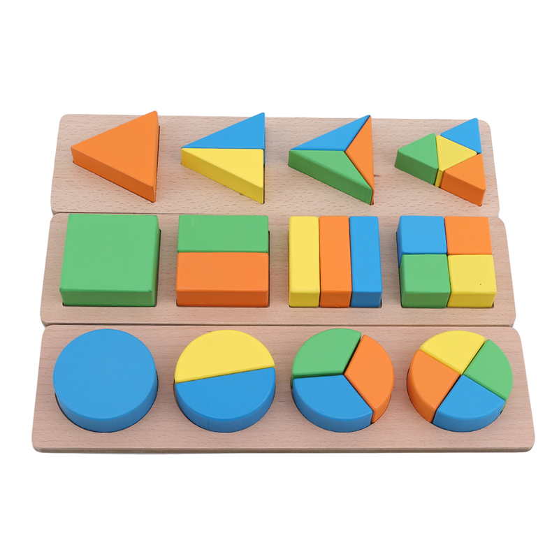 Square Puzzle Baby Cognitive Geometry Wooden Puzzle Children's Education Wooden Toy Triangle Round Children's Educational Toys