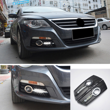ECAHAYAKU 1 set waterproof LED Daytime Running Lights car styling For Volkswagen VW CC 2012-2014 DRL LED Fog Lamps driving light цена 2017