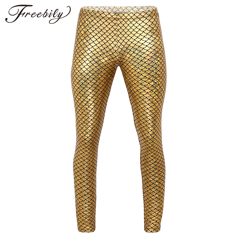Mens Shiny Mermaid Fish Scale Print Sexy Fitness Pant Mid Rise Skinny Leggings Tights for Clubwear Festival Party Dance Costume