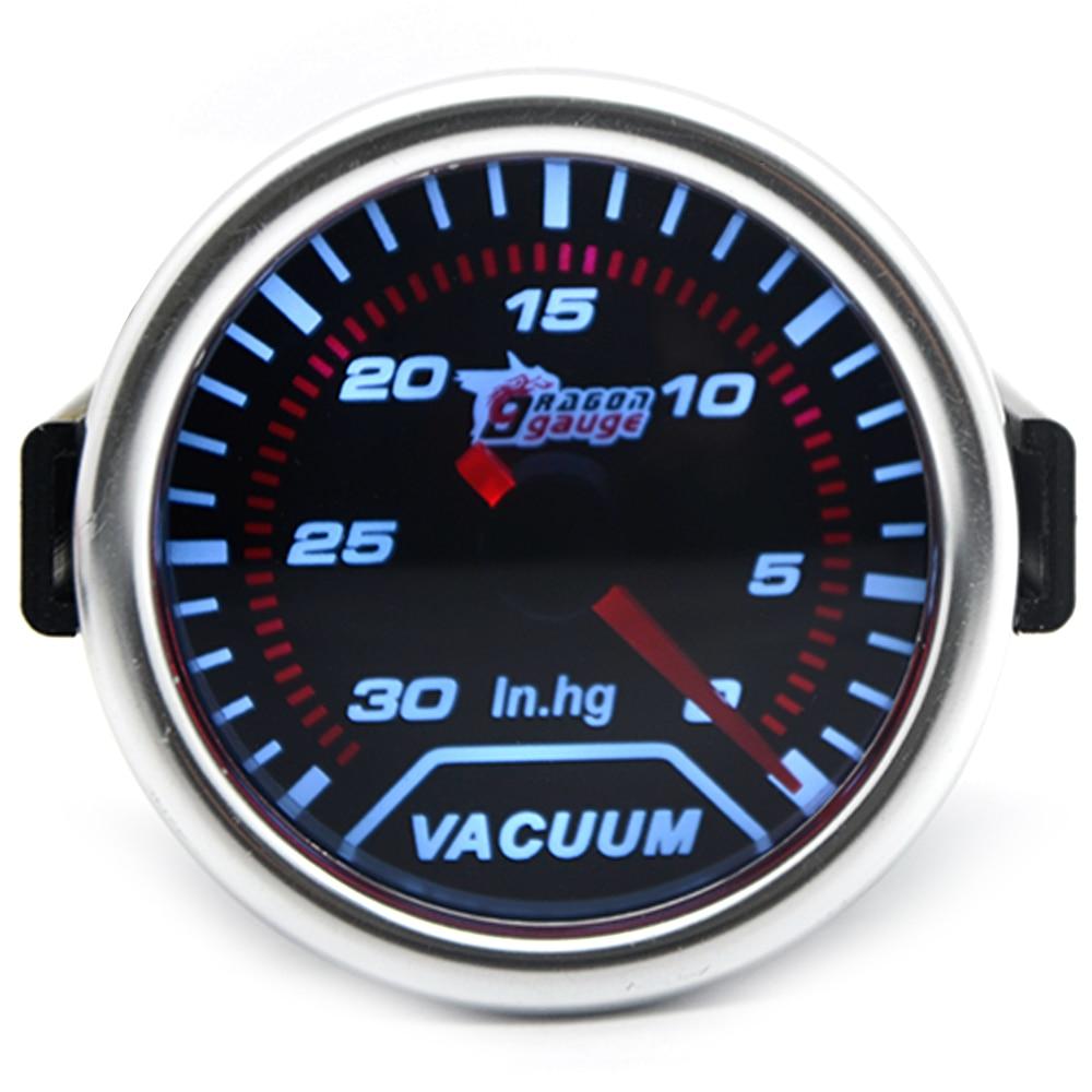 "Universal 2/"" 52mm Car Auto LED Smoke Lens 12V Vacuum Gauge 0-30 In.Hg Meter"