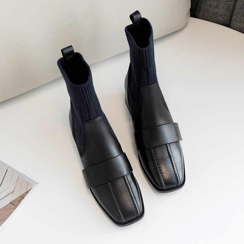 Morazora 2020 Hàng Mới Về Da Thật Chính Hãng Da Giày Nữ Mắt Cá Chân Giày Slip On Mùa Thu Giãn Giày Bốt Gót Vuông Đầm Giày Người Phụ Nữ
