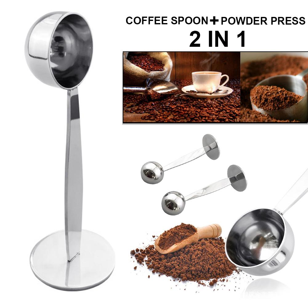 2 In 1 Stainless Steel Coffee Tamper Measuring Spoon Scoop With Stand Espresso Coffee Bean Tea Spoon Coffeeware Kitchen Gadgets