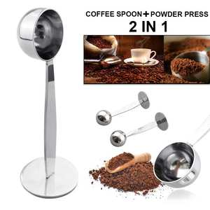 Scoop Tea-Spoon Espresso Coffee-Bean Stand Kitchen-Gadgets Stainless-Steel with 2-In-1