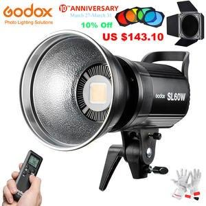 Godox SL60W Led видео свет 5600K 60W CRI 95 + Bowens крепление с пультом дистанционного управления и BD-04 дверь сарая сотовая сетка 4 цвета фильтры