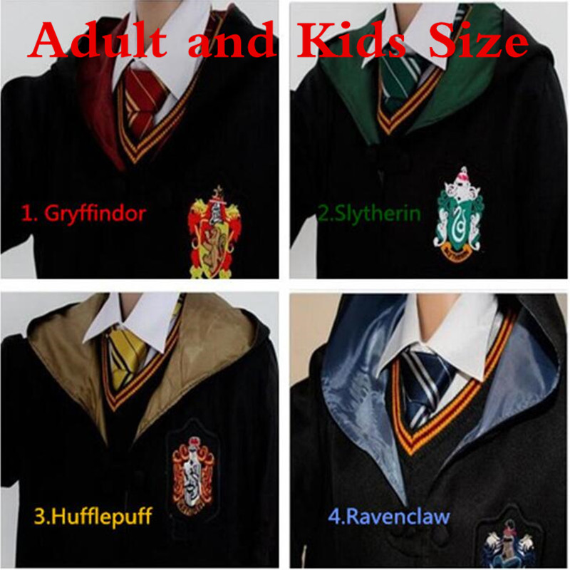 Adult Kids Hermione Granger Costumes Robes Tie Gryffindor Scarf Ravenclaw Clothes Mantle Slytherin Hufflepuff Men Women Cloaks