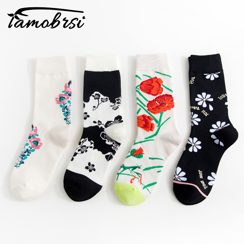Autumn Winter New Fashion Colorful Personality Short  Funny Socks Tube Cotton Women Men Socks Flower Happy Creative Socks Female