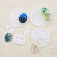 5 Pcs/set Silicone Oval Mold with Hole Pendant DIY Craft Jewelry Pendants Decor Making Epoxy Resin Molds