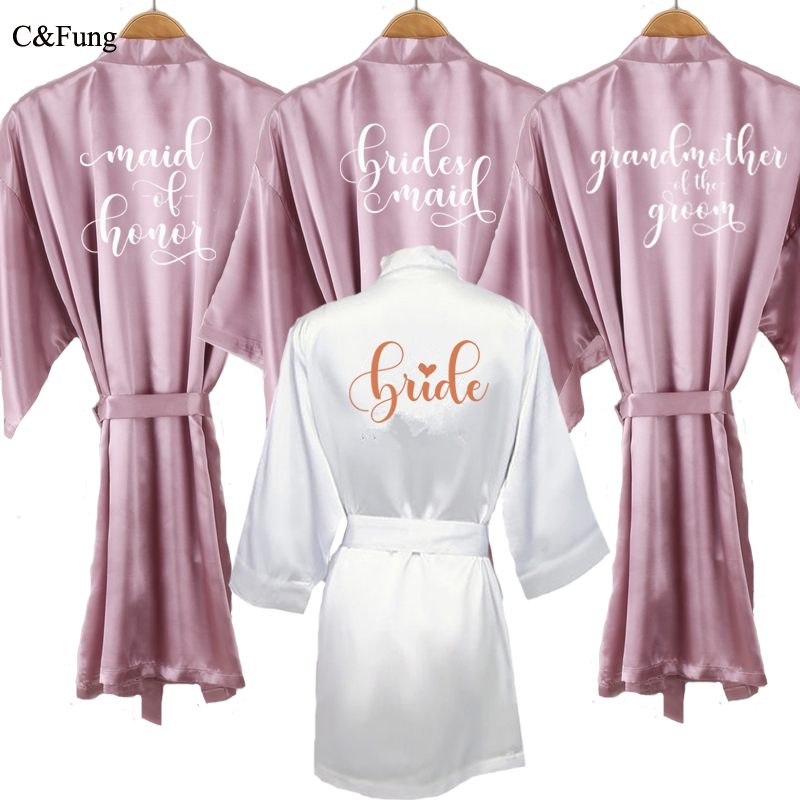 C Fung Mauve Robe Bride Kimono Satin Women Soft Lavender Bridesmaid Elegant Writing Getting Ready Wedding Bridal Party Robes Robes Aliexpress
