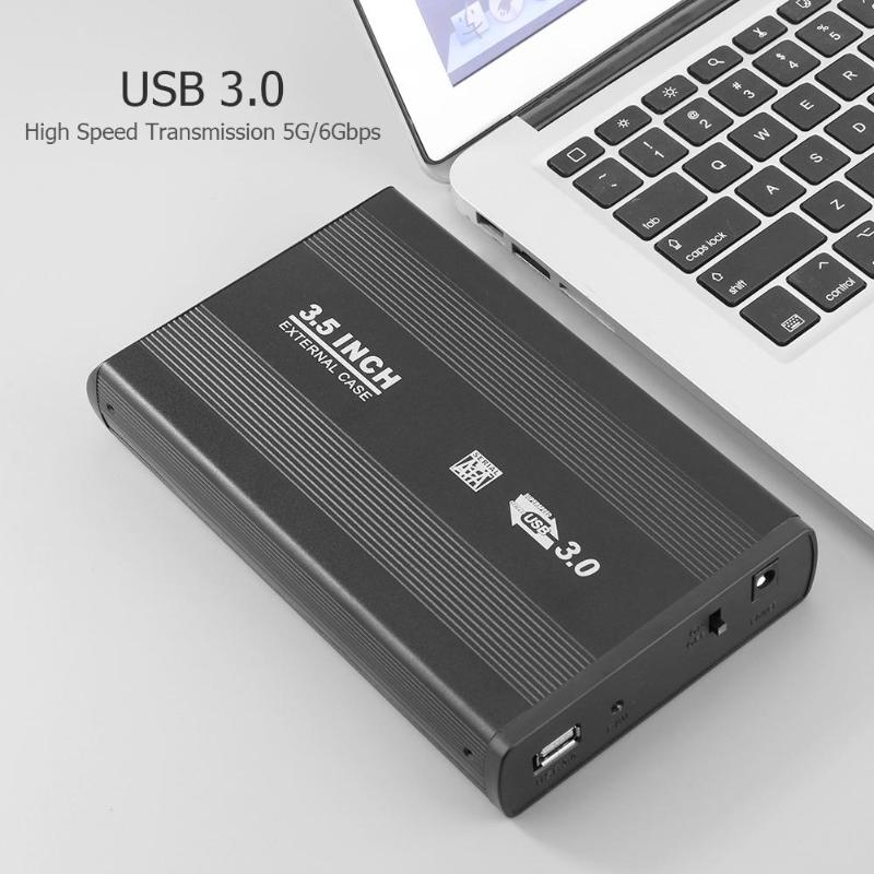 EU/US 3.5 Inch SATA To USB 3.0 High Speed External HDD Hard Drive Disk Case Enclosure Box With LED Indicator For Laptop Desktop
