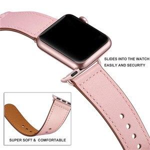 Image 3 - Pembe renk kadın deri saat kayışı kayışı Apple saat bandı saat kayışı 38mm 40mm , VIOTOO için hakiki deri WatchBand iwatch askı