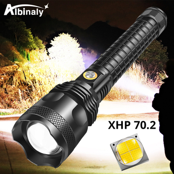 super bright 4 core p50 led flashlight 4 lighting modes telescopic zoom support one key to close suitable for outdoor XHP70.2 LED Flashlight Super bright waterproof LED Torch 3 lighting modes Telescopic zoom Camping light Powered by 26650 battery