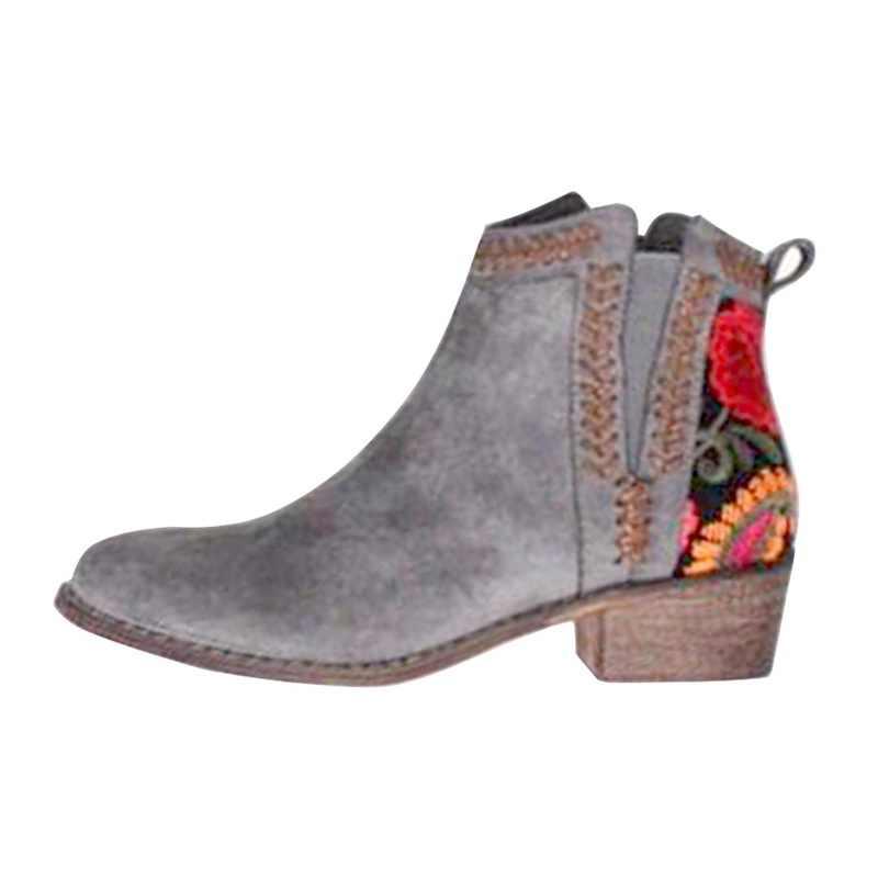 2019 botas mujer Otoño Invierno mujer resbalón en mujeres botas zapatos de plataforma zapatos planos de mujer de talla grande