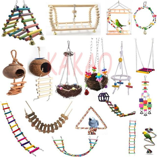 Colorful Ladder Bird Toy Cage Accessories Flexible Bite String Ladders Wooden Rainbow Bridge for Parrots Trainning 1