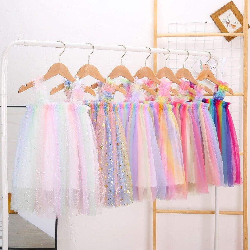 Платье-пачка с подтяжками для девочек, разноцветное платье принцессы для маленьких детей