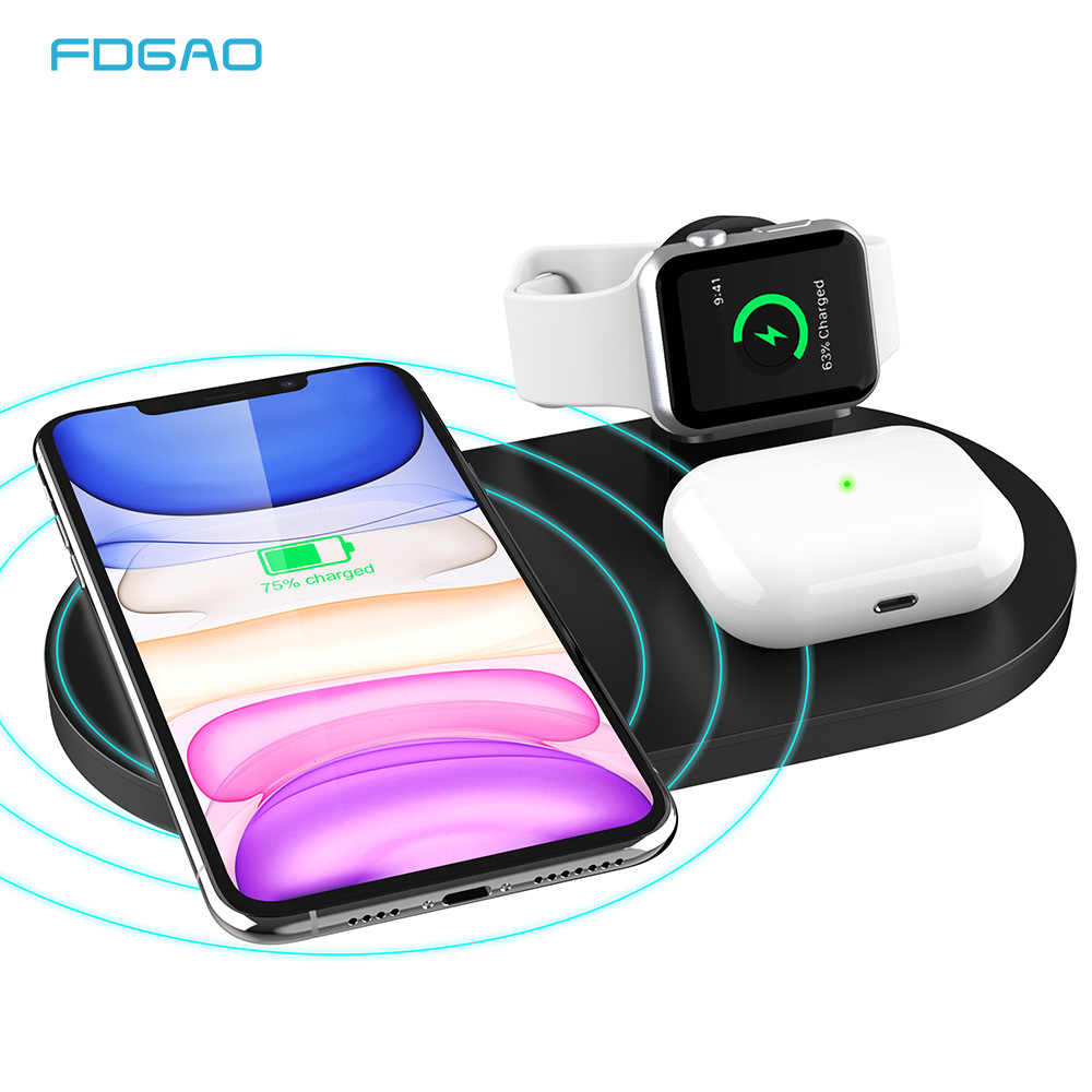 FDGAO 3 ב 1 טעינת Pad עבור iPhone 11 XS XR X 8 סמסונג S20 15W Qi מטען אלחוטי dock עבור אפל שעון 5 4 3 2 1 AirPods פרו