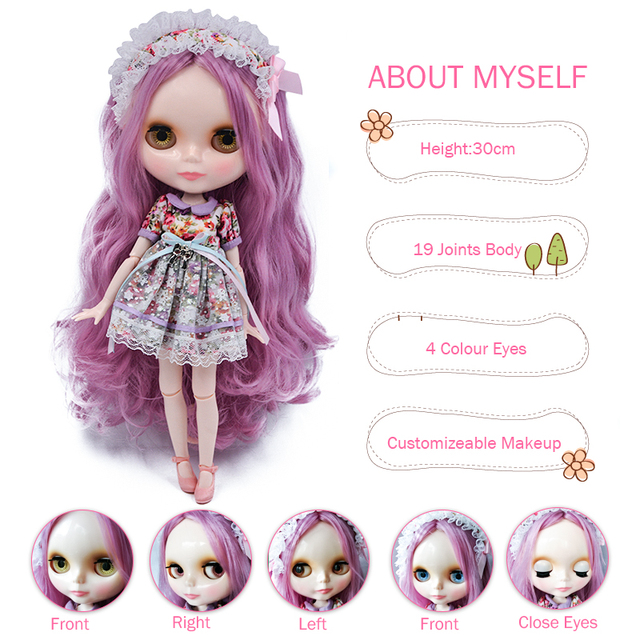 Neo Blyth Doll NBL Customized Shiny Face,1/6 BJD Ball Jointed Doll Ob24 Doll Blyth for Girl, Toys for Children NBL03