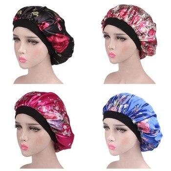 Paquete de 4 nuevo gorro de dormir Extra grande tela de impresión Africana Ankara pelo bonnet satén forrado gorro de noche para dormir turbante para señoras #15