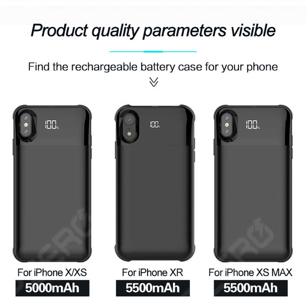 מטען סוללות מקרה עבור iPhone 11 מקרה עבור iPhone 5S SE 6 6S 7 8 בתוספת X XR XS מקסימום פרו אוניברסלי נייד כוח בנק מטען