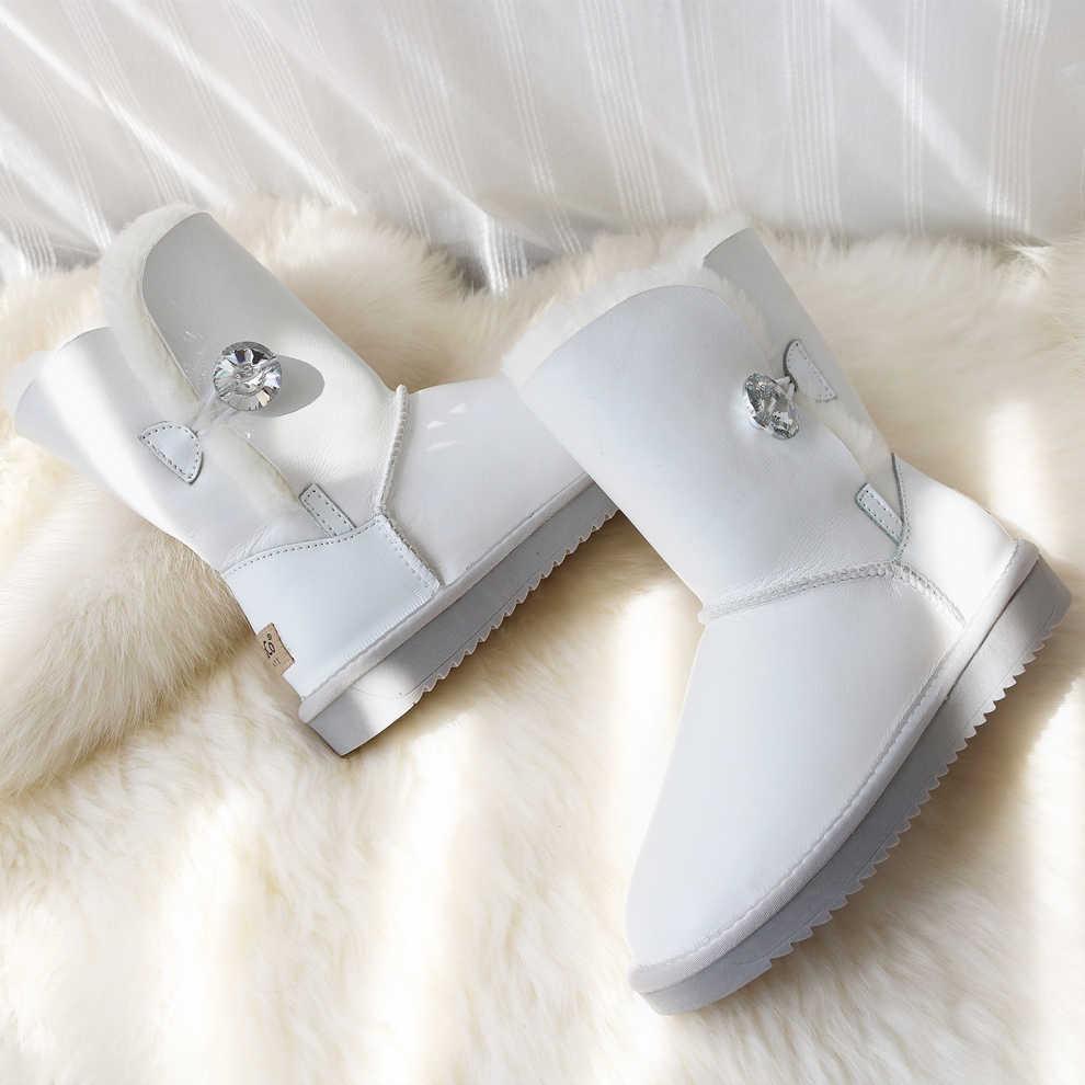 Ủng Nữ Da Cừu Thật Giày Boots Da Chống Thấm Nước Cừu Trắng Giày Len Lông Giữa Bắp Chân Dẹt Nữ Mùa Đông giày