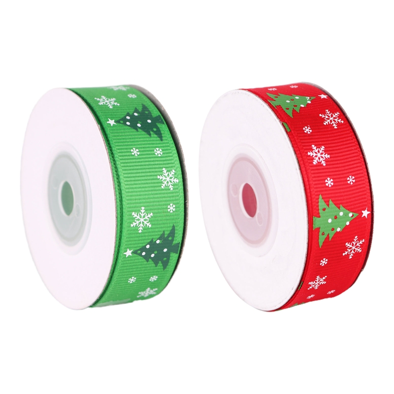 10 Rolls 10 Yards 20mm Christmas Tree Printing Red Green Grosgrain Ribbon for DIY Crafts Gift Wrapping Xmas Decoration