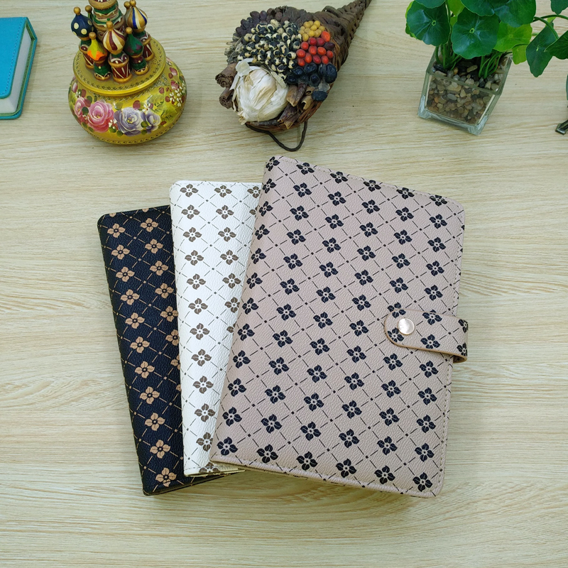 Wide Use Journal Book Cover For A5 Notebook Diary Multi-Function Wallet Folder Four Golden Leaf Clover
