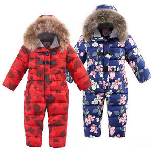 Image 2 -  30 degrees winter kids Siamese Down Jacket Waterproof down jacket for boys Large size thick ski jacket for girls jumpsuit coats