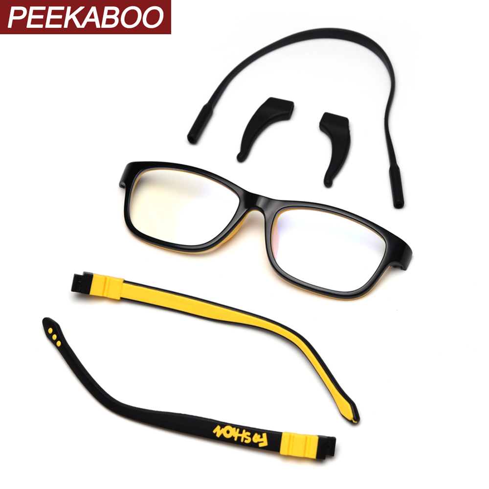 Peekaboo Silicone Children Eyeglasses Optical Ultralight Kids Boys Accessories Yellow Blue Girls Glasses Square Clear Lens