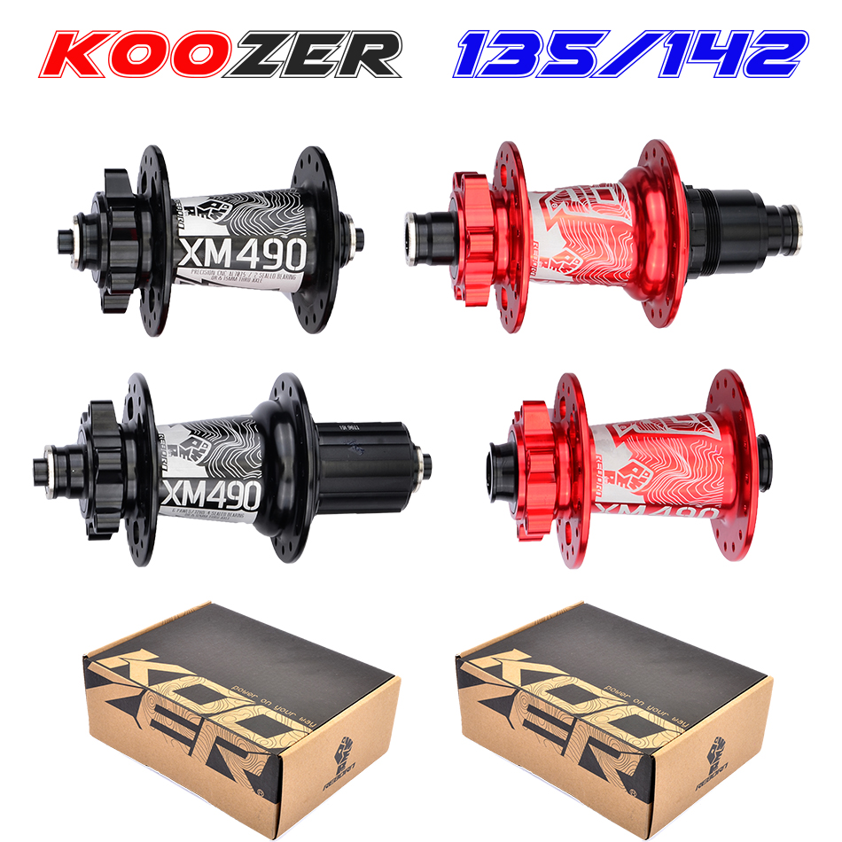 Livraison gratuite Koozer XM490 moyeux 4 roulements vtt VTT moyeu QR100 * 15 12*142mm thru32trous frein à disque vélo hub28 32 36 trous