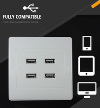 4 Port USB Wall Charger Plate Coupler Outlet Power Socket Plug Panel Wall Plate Socket Keystone Faceplate Sockets