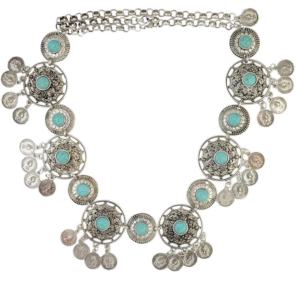Afghan Belly Waist Chains Women Coin Tassel Bib Statement Dance Belt Chain Hippie Blue Stone Beach Summer Body Jewelry
