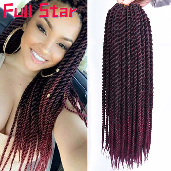 Full Star Pre Twist Crochet Braid Hair Synthetic Black Ombre Brown Senegalese Braids 30strands for Women - discount item  34% OFF Synthetic Hair