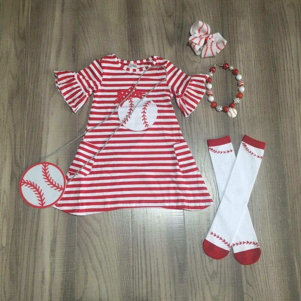 Baby Girls Soft Ball Dress Outfits Girls Tripe Red Dress With Ball Purse Sock And Accessories Children Summer Outfits