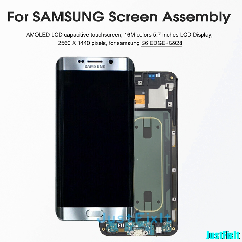 <font><b>Original</b></font> For <font><b>SAMSUNG</b></font> GALAXY <font><b>S6</b></font> <font><b>edge</b></font> plus G928 G928F burn-in shadow LCD <font><b>Display</b></font> Touch Screen Digitizer Super Amoled Replacement image