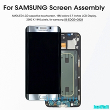 Original For SAMSUNG GALAXY S6 edge plus G928 G928F burn in shadow LCD Display Touch Screen Digitizer Super Amoled Replacement