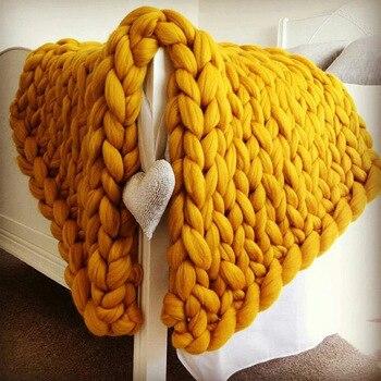 Big Size di lana merino Coperta di Maglia Inverno caldo di spessore Lane e Filati Ingombranti di Lavoro A Maglia coperte Fatti A Mano di grandi dimensioni divano letto coperta ponderata