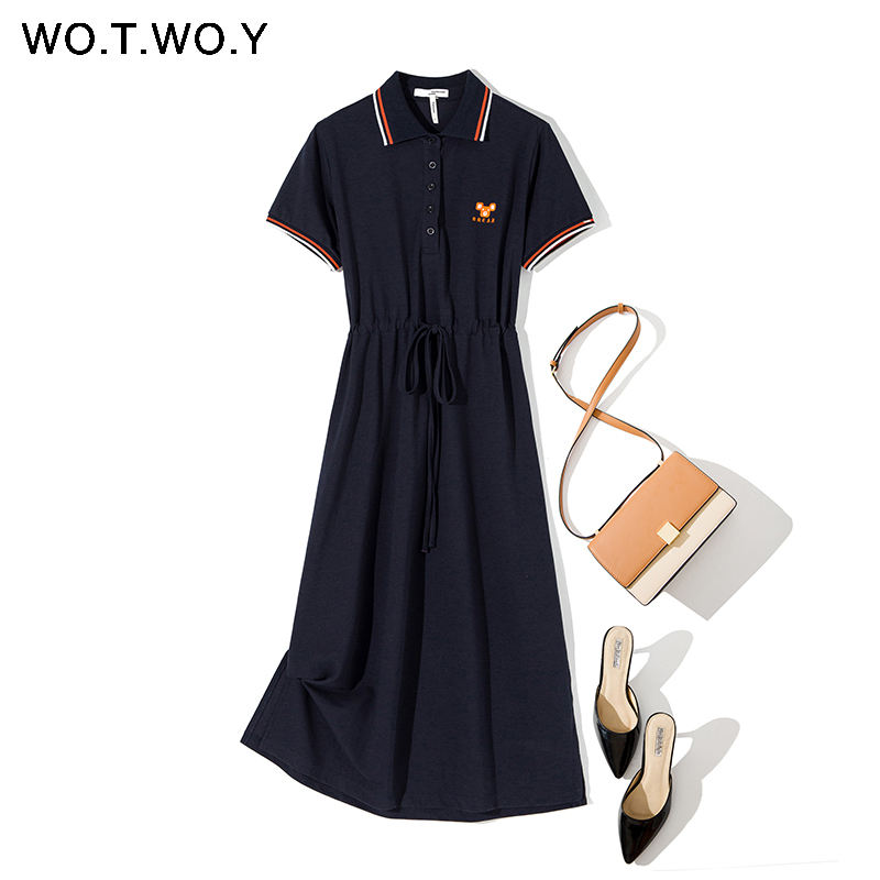 WOTWOY Funny Embroidery Casual Polo Dress Women Plus Size Summer Split Long Dresses Women Solid Loose Cotton Dress Female 3XL