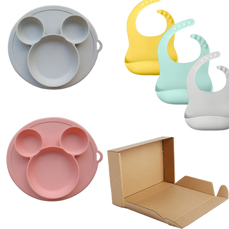 Baby Silicone Plate Bowl Set With Bibs Kids Silicone Sucker Bowl Waterproof Soft Bibs Baby Dividers  Kids Plate
