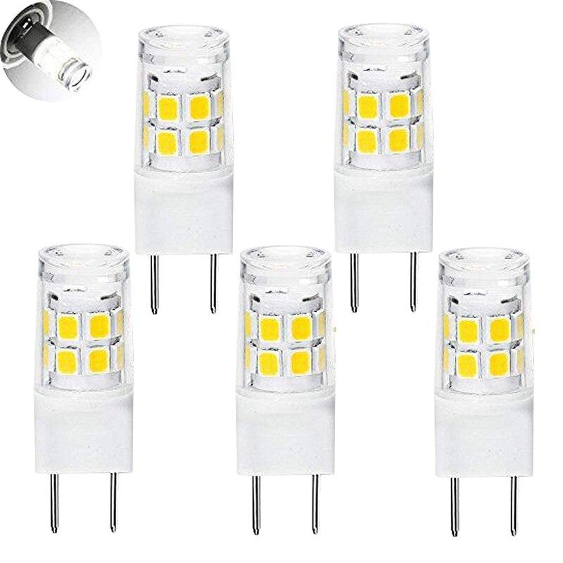 Bombilla LED G8, G8 GY8.6 bi-pin Base LED, no regulable T4 G8 Base bi-pin Xenon JCD tipo LED 120V (paquete de 5) (G8 3W) Bombilla halógena GU10, 20W, 35W, 50W, Bombilla de gran brillo, 2800K, luces de cristal transparente de alta eficiencia, bombillas de luz blanca cálida para el hogar