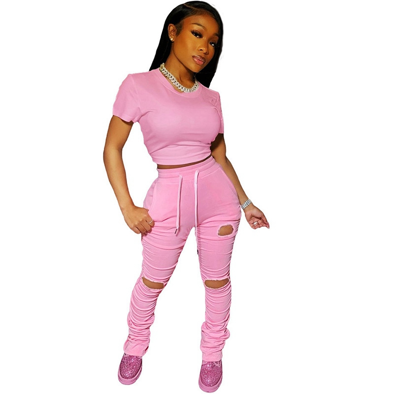 2 Piece Jogger Set Women Tracksuit Casual Summer Crop Top And Stacked Pants Sweatpants Set Women Two Piece Outfits Matching Sets
