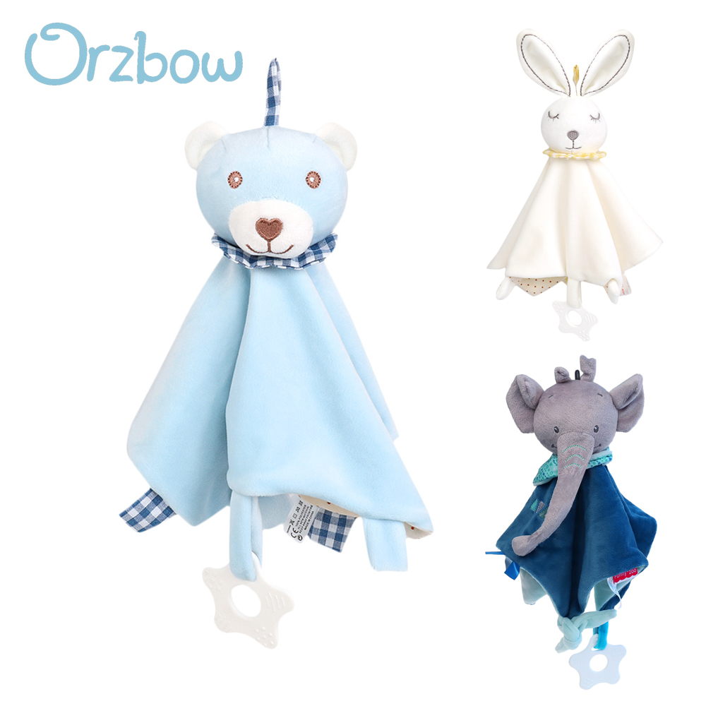Orzbow Baby Infant Animal Soothe Appease Towel Cartoon Plush Doll Toy Pacify Appeasing Soothing Towel With Baby Teether Toys